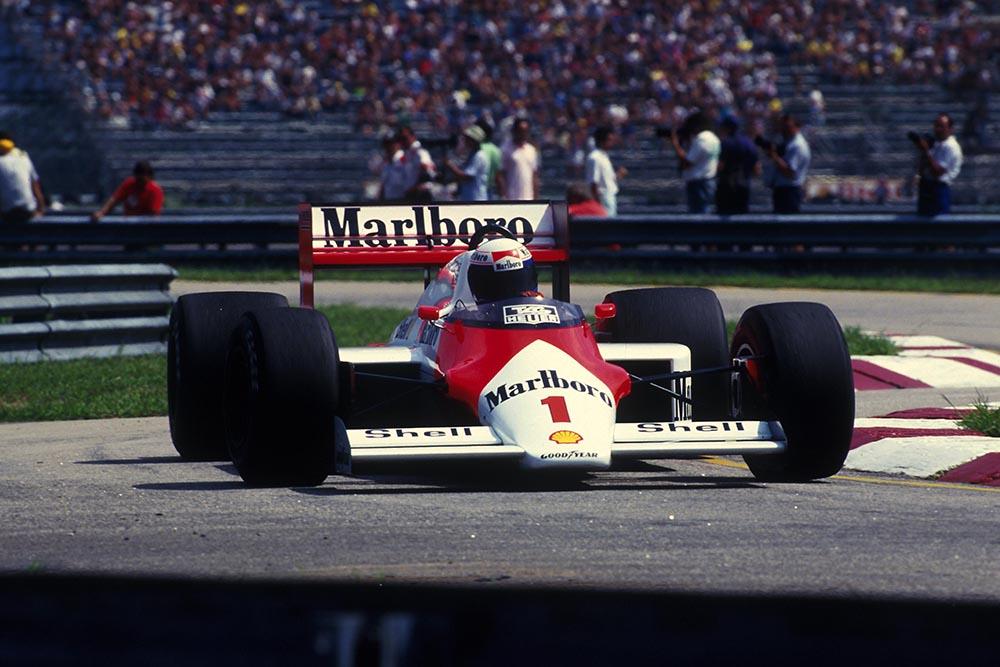 Winner Alain Prost in his McLaren MP4/3.
