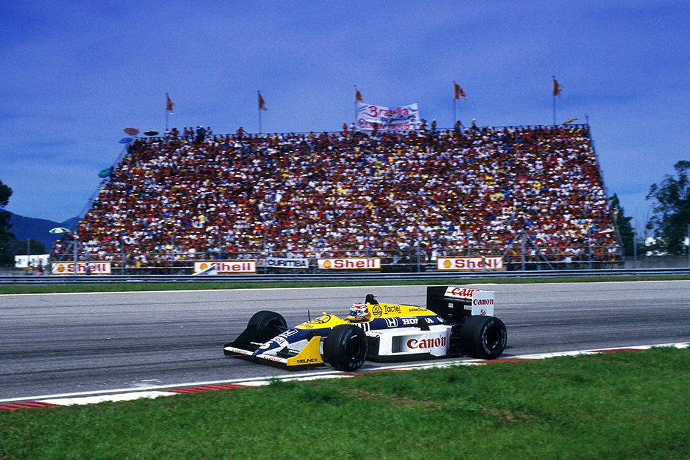 Nelson Piquet at the wheel of his Williams FW11B.