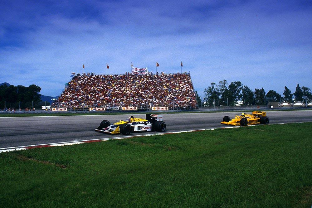 Nigel Mansell in his Williams FW11B.