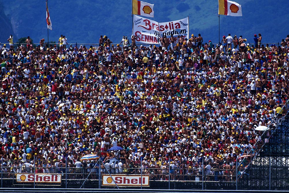 Fans crowd the stands at the Brazilian Grand Prix.