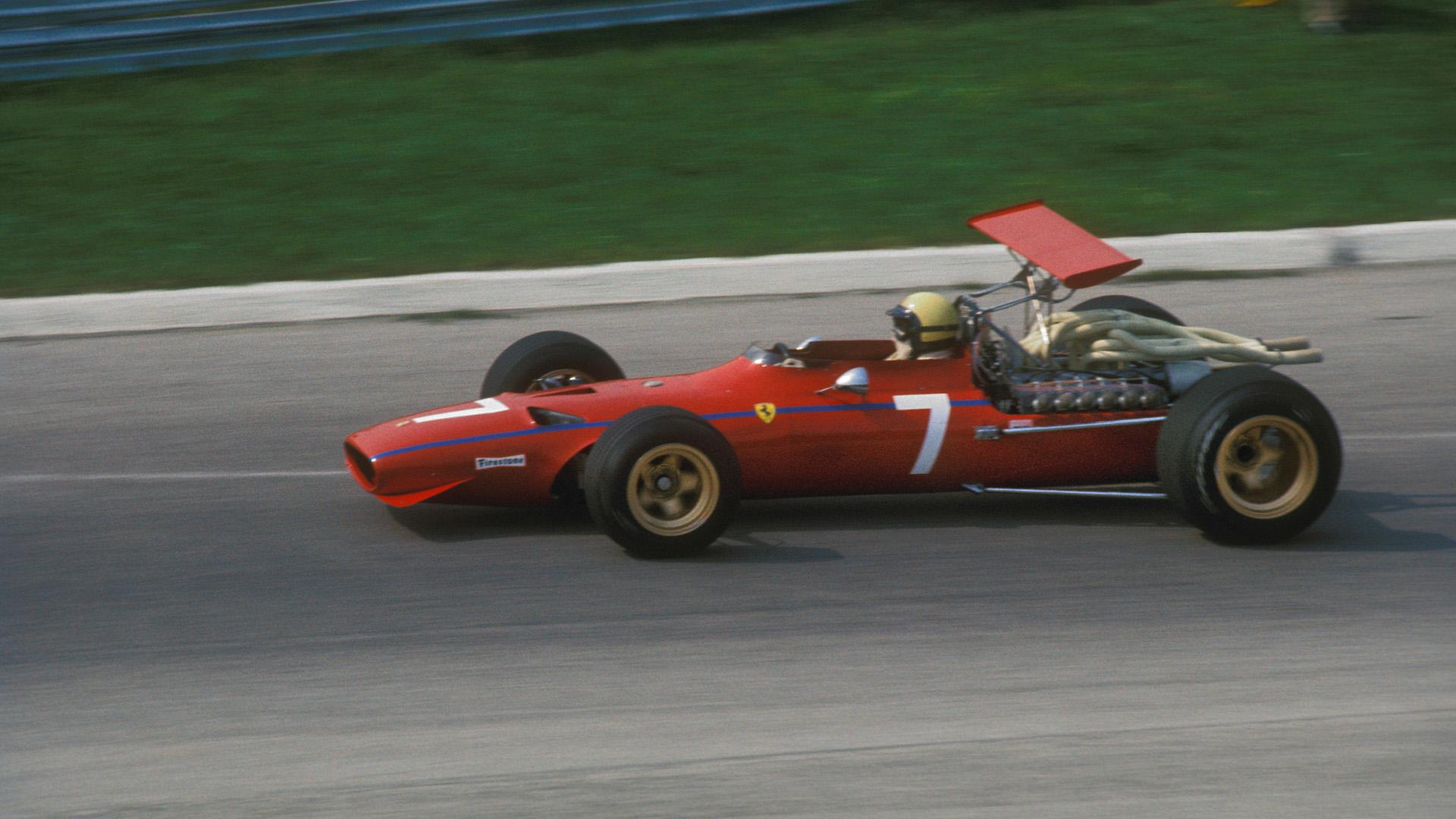Derek Bell driving for Ferrari at the 1968 F1 italian Grand prix at Monza