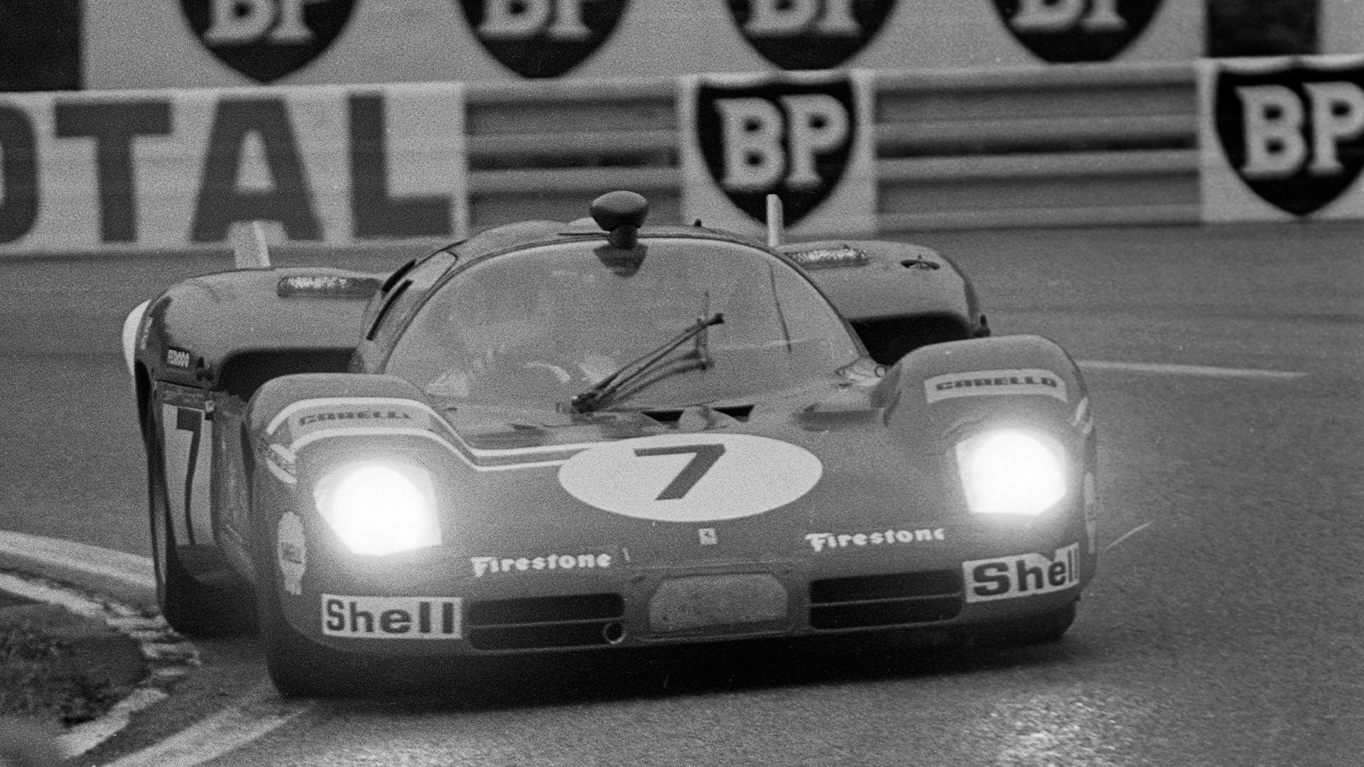 Derek Bell driving the Ferrari 512 at the 1970 Le Mans 24 Hours