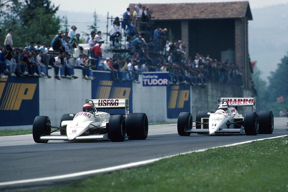 Eddie Cheever (Arrows A10) leads Pascal Fabre(AGS JH22).