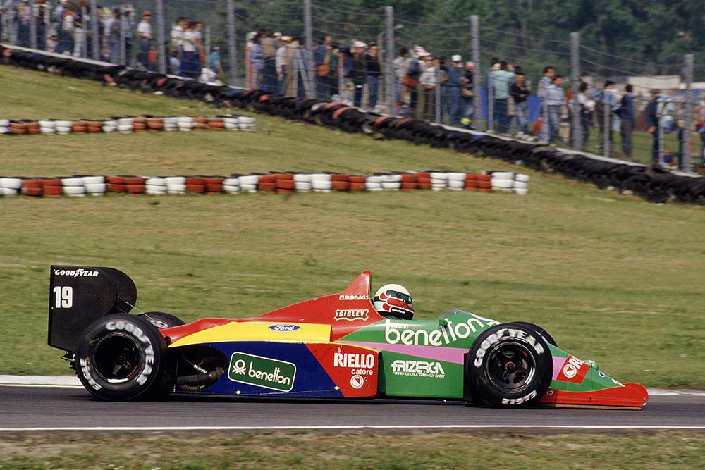 Teo Fabi driving his Benetton B187 Ford.