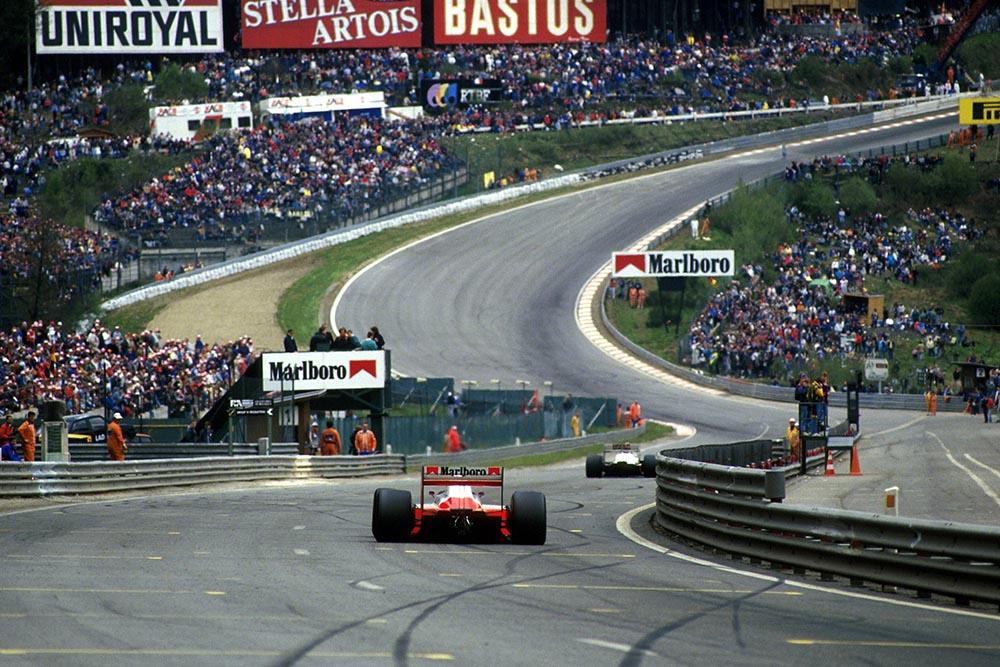 Alain Prost approaches Eau Rouge.