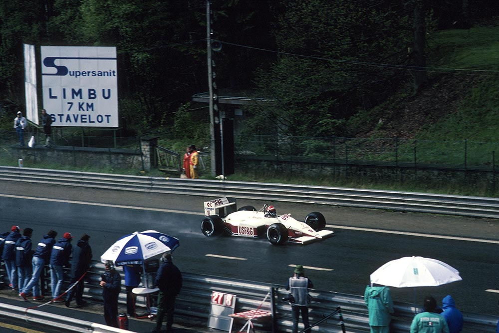 Eddie Cheever in his Arrows A10 passes the pits.