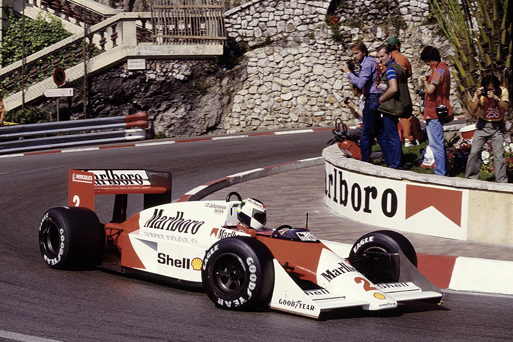 Stefan Johansson in his McLaren MP4/3 TAG Porsche.