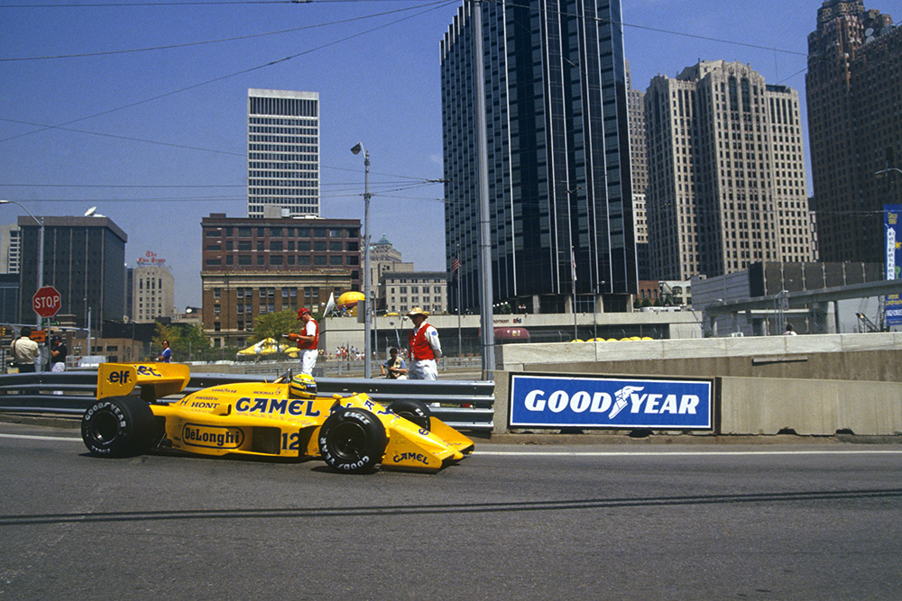 Ayrton Senna heading for a win in his Lotus 99T Honda.