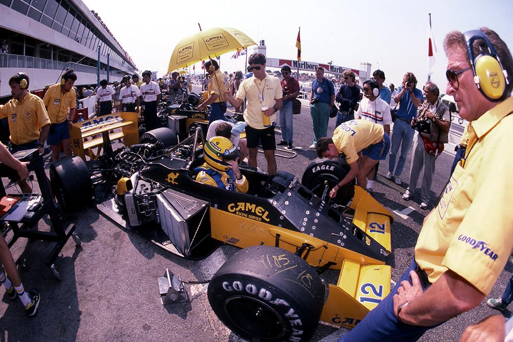 Ayrton Senna in the pits.