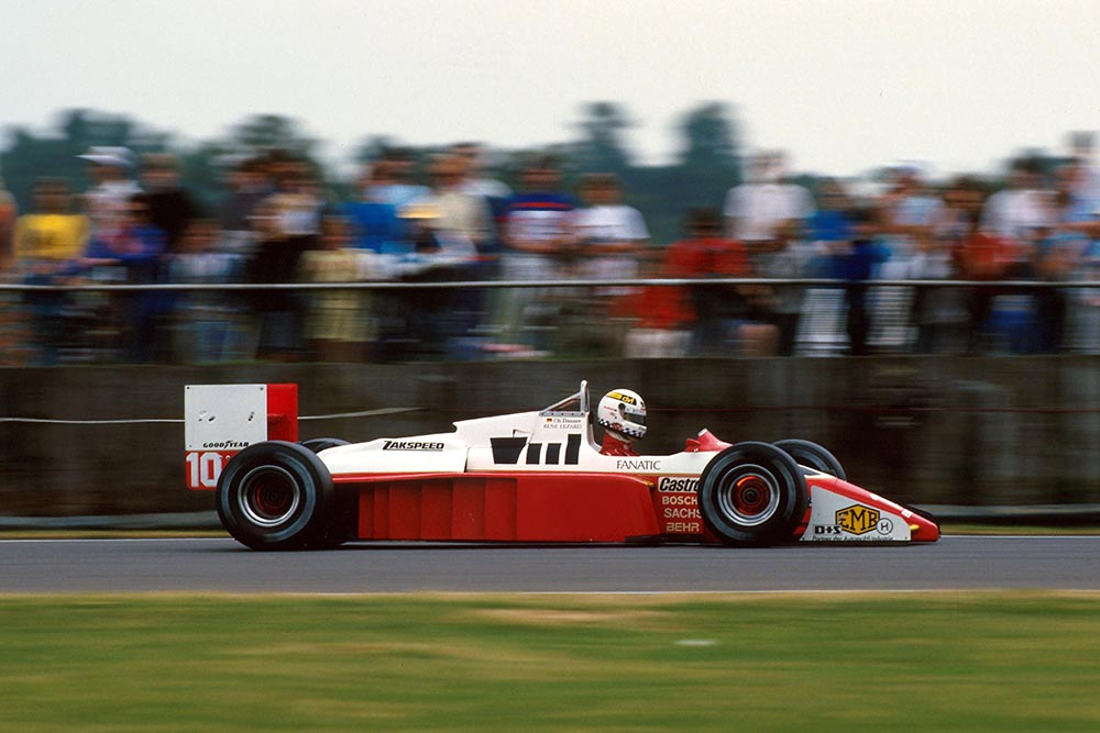 Christian Danner at the wheel of his Zakspeed 871.