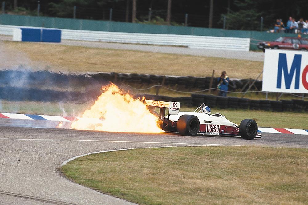 Derek Warwick's Arrows A10 Megatron BMW catches fire.