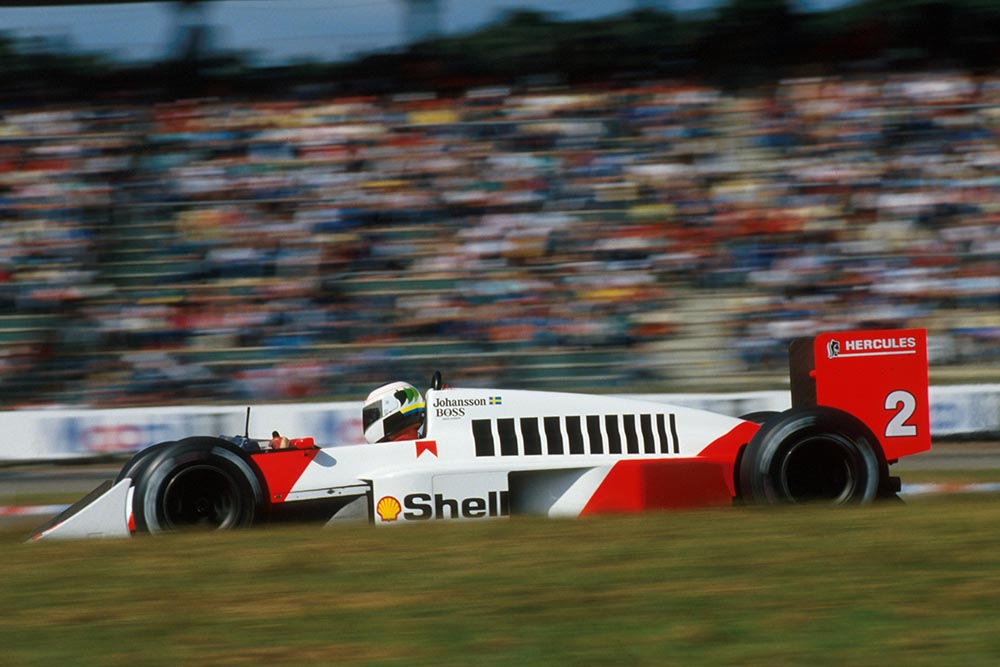 2nd placed Stefan Johansson at the wheel of his McLaren MP4/3.