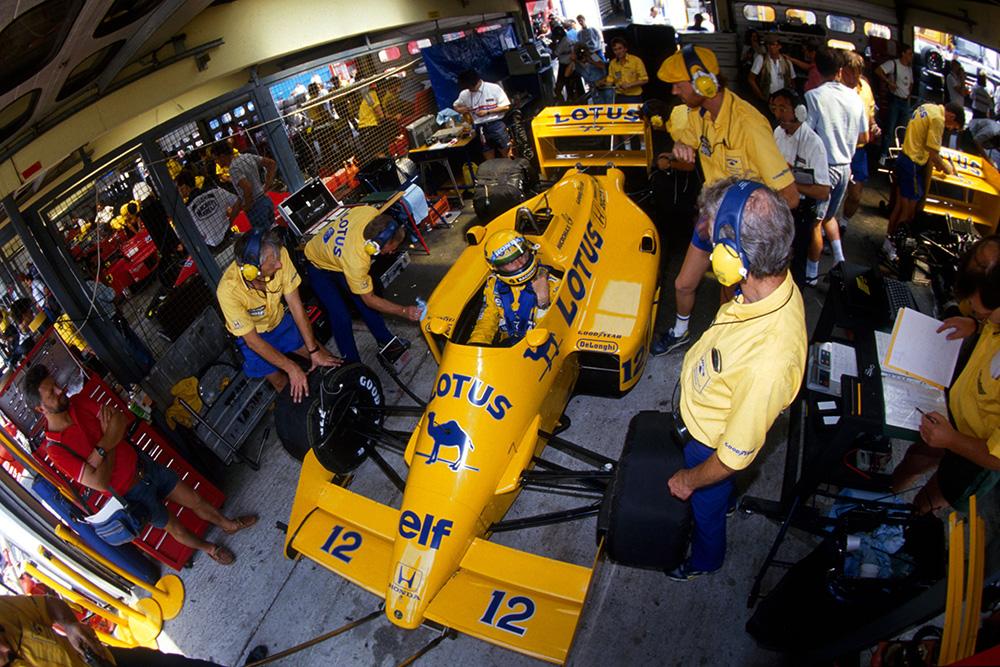 Ayrton Senna's Lotus 99T in the pit garage.
