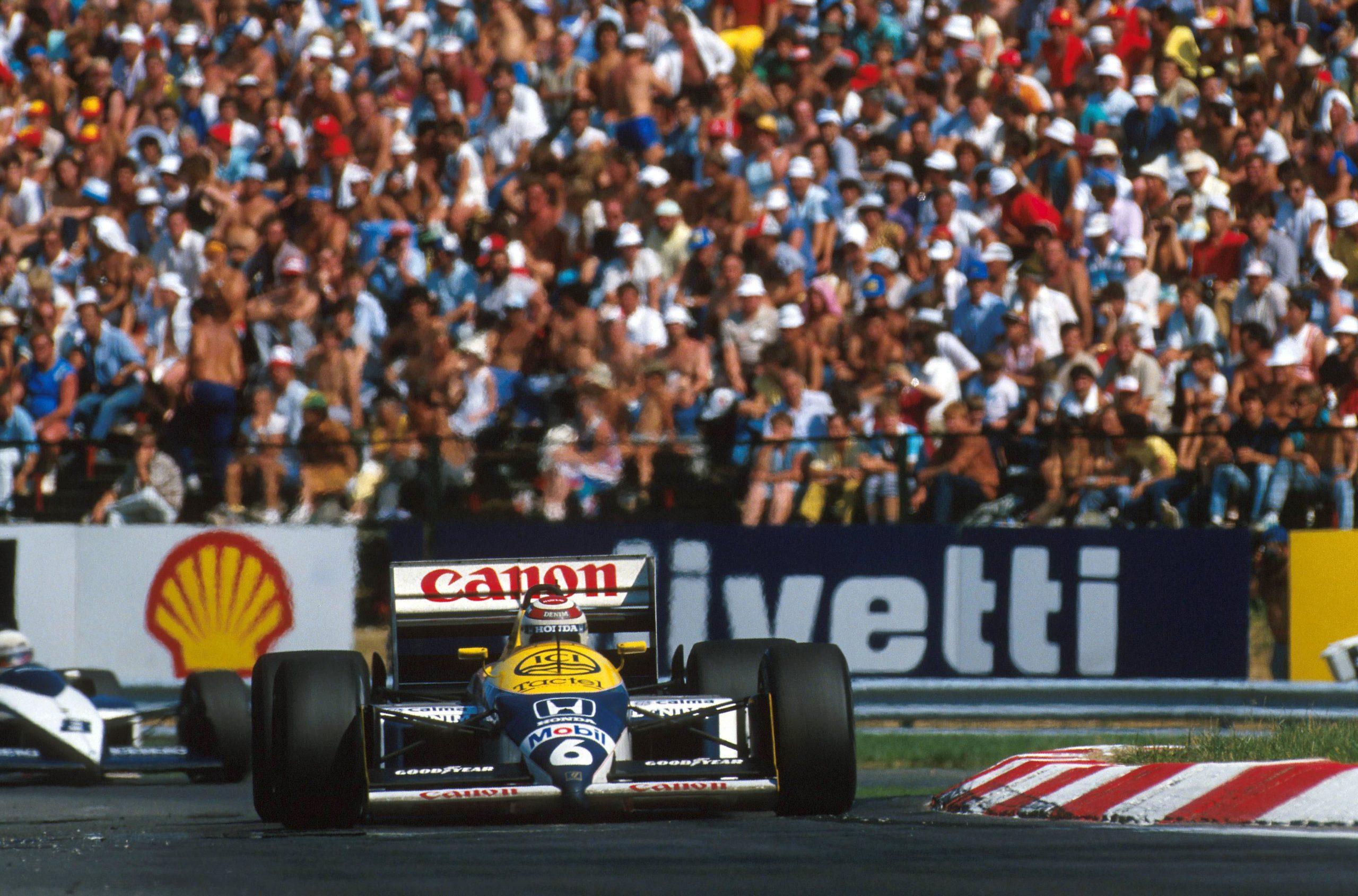Winner Nelson Piquet in his Williams FW11B.