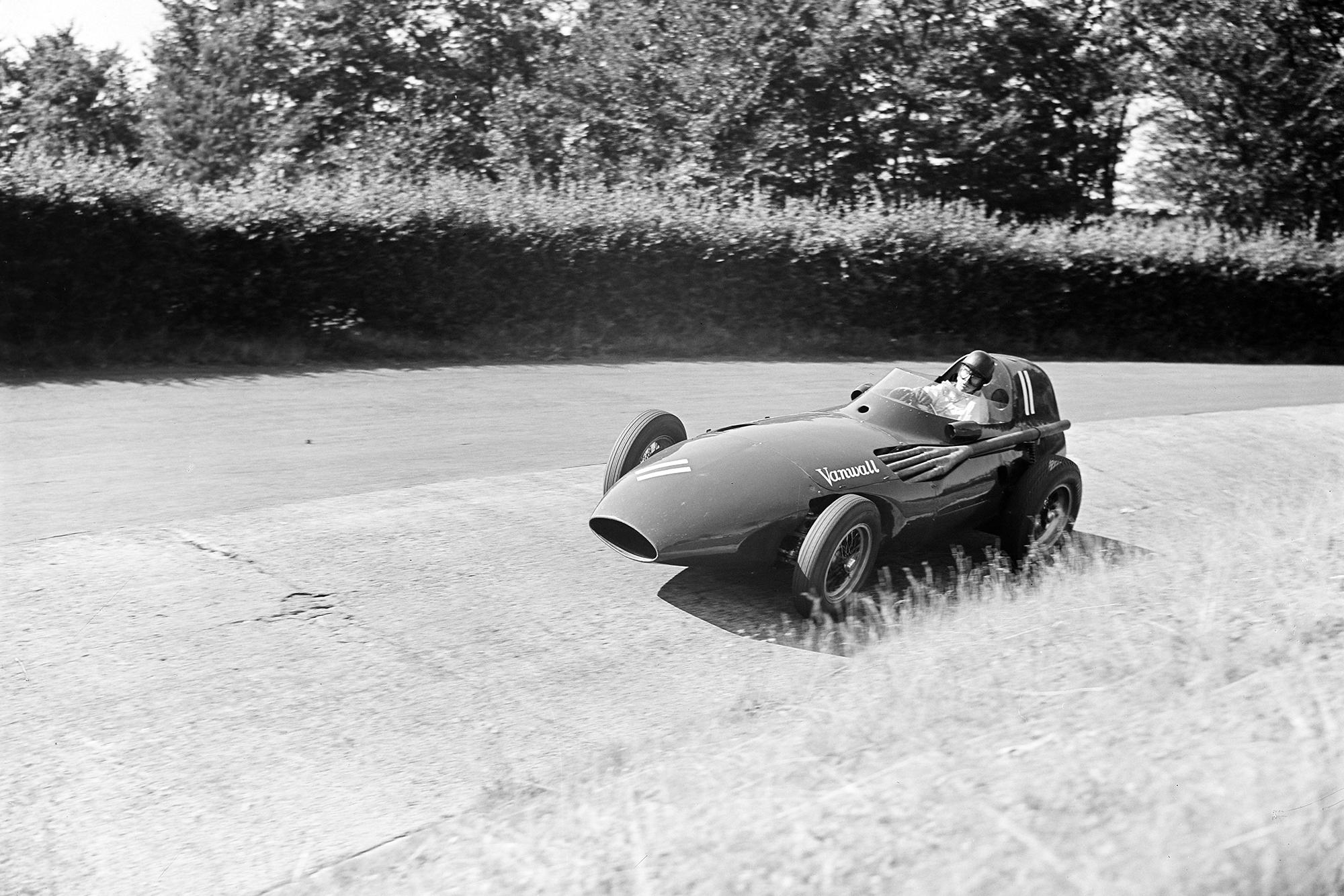 Tony Brooks takes on the carousel in his Vanwall, 1957 German Grand Prix, Nurburgring.Vanwall