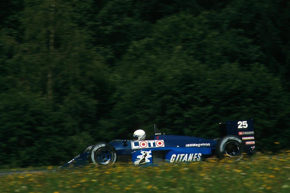 Rene Arnoux drives his Ligier JS29C.