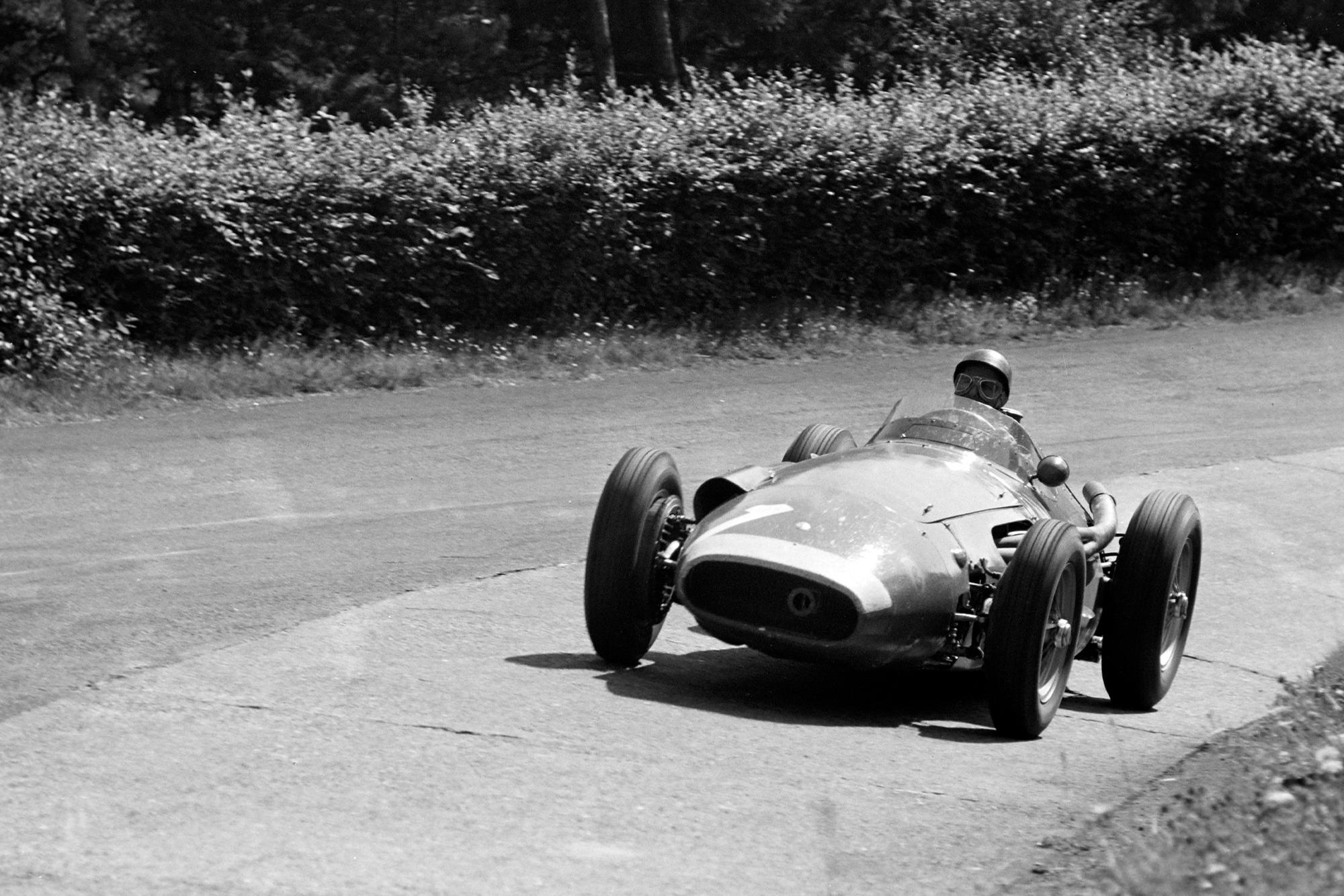 Juan Manuel Fangio in his Maserati 250F during the 1957 German Grand Prix.