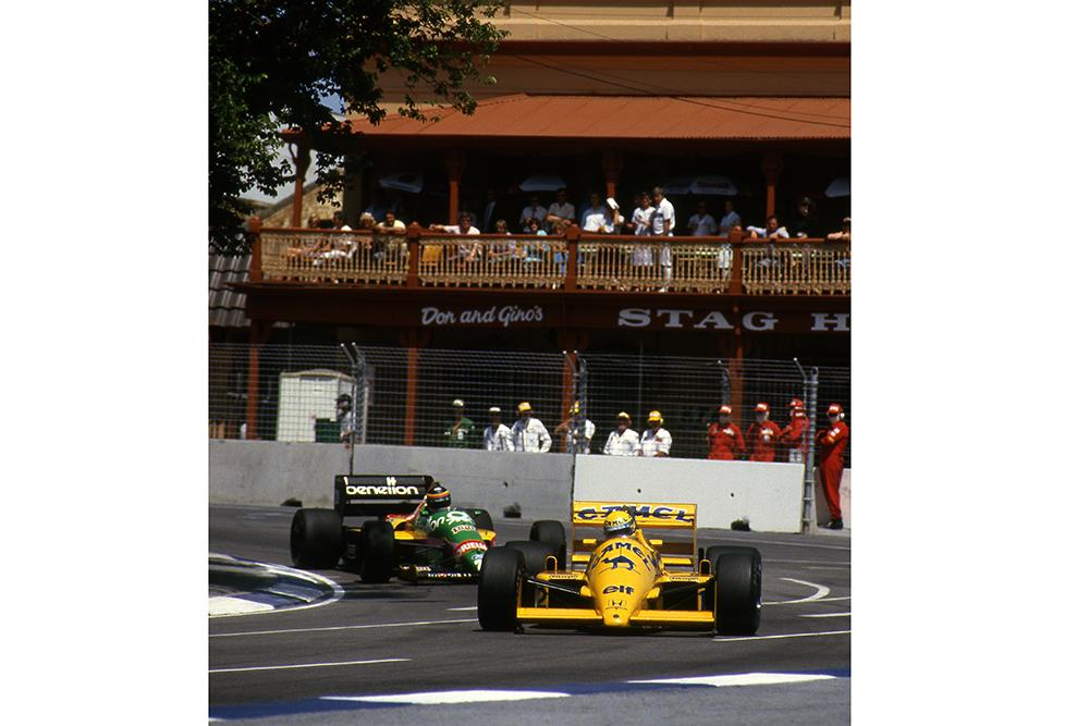Ayrton Senna corners in his Lotus 99T.