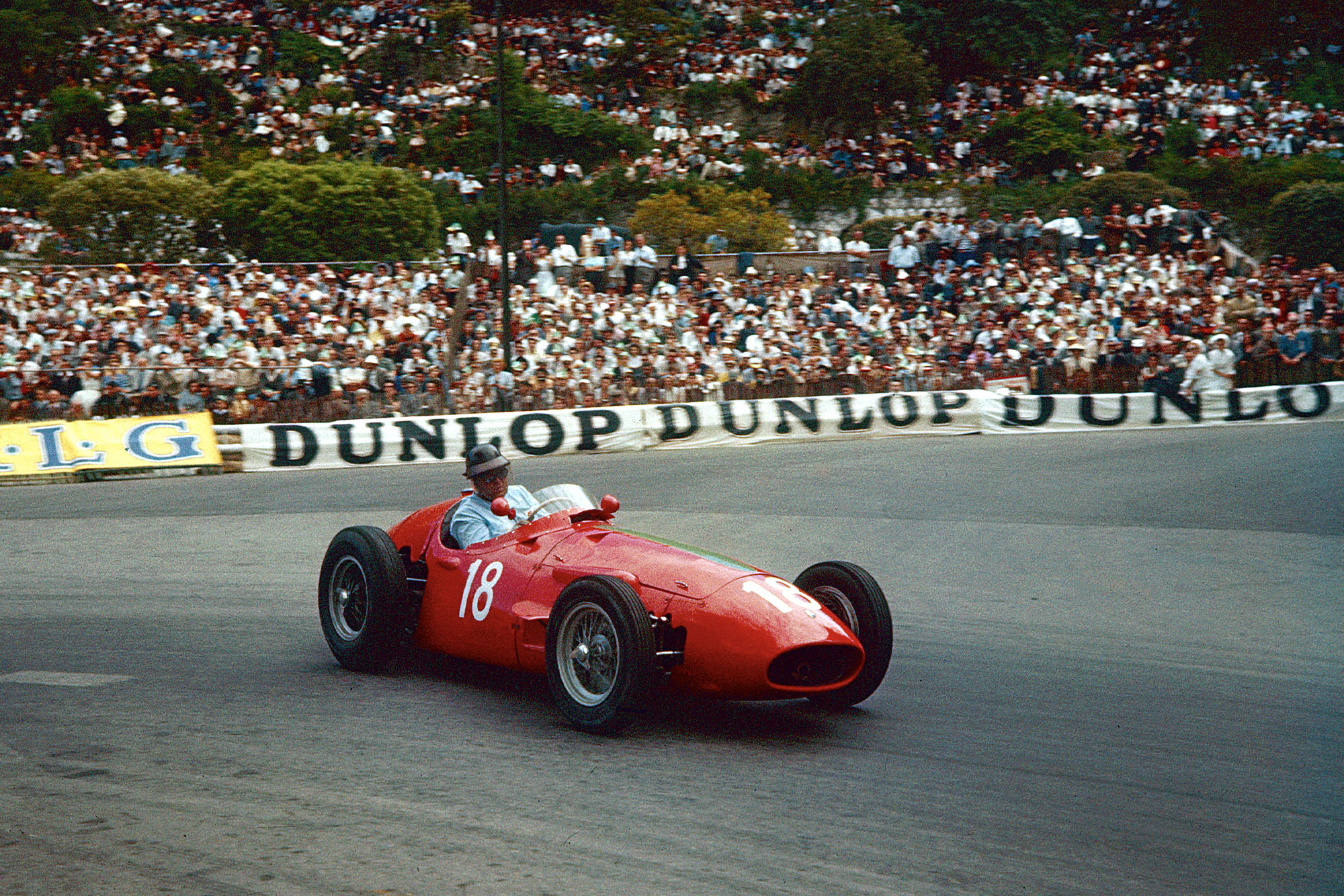 Horace Gould slides his Maserati through the gasworks hairpin