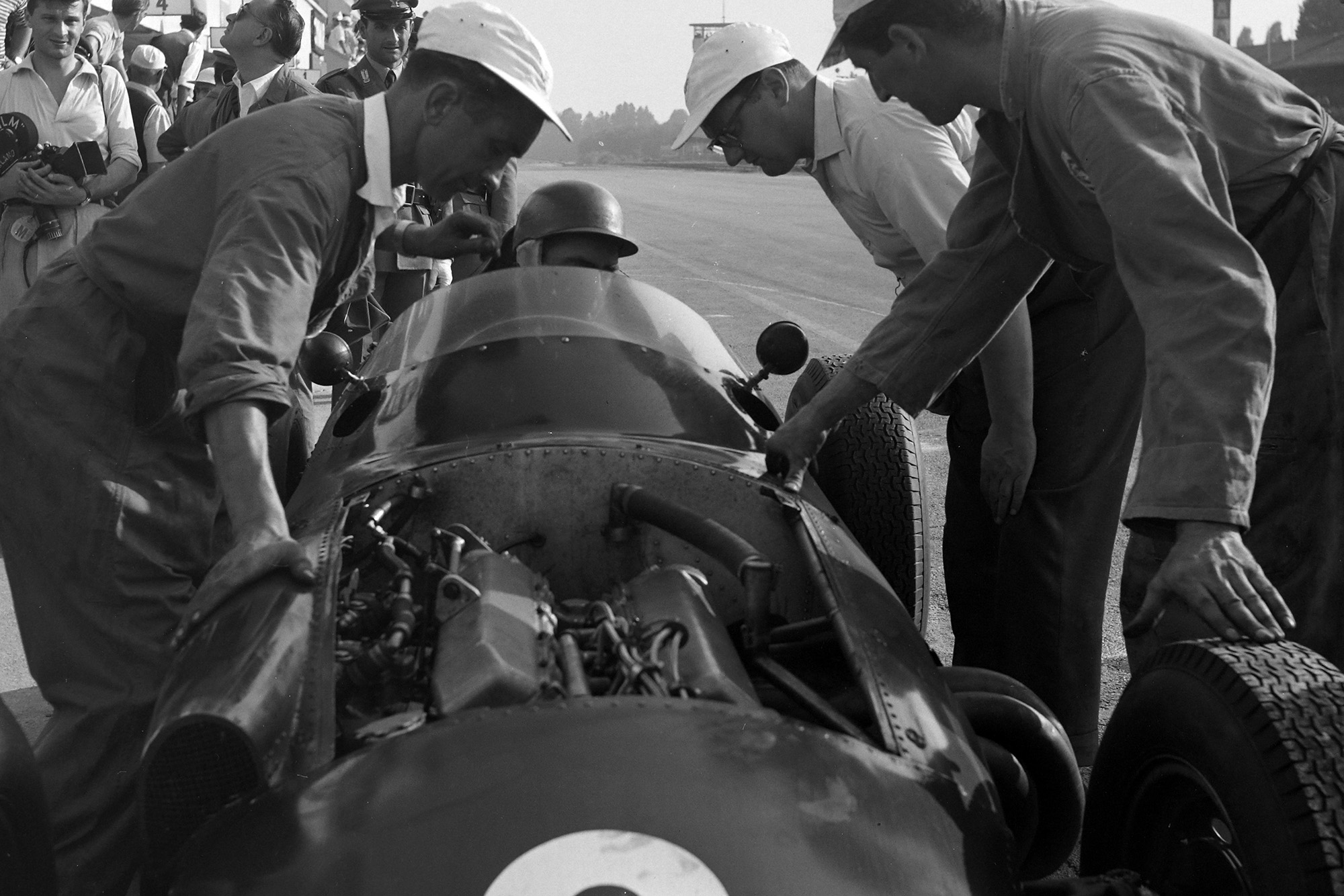 Behra's BRM in the pits