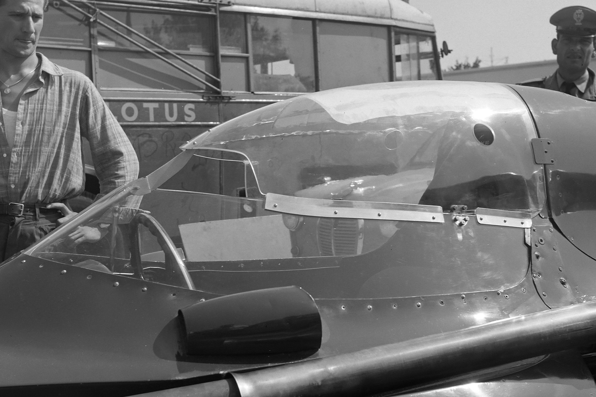 Close-up of the experimental Vanwall closed cockpit
