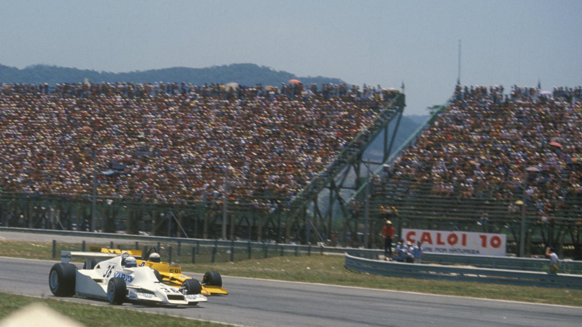 Riccardo Patrese battles with Jochen Mass during the 1978 F1 Brazilian Grand Prix in Rio