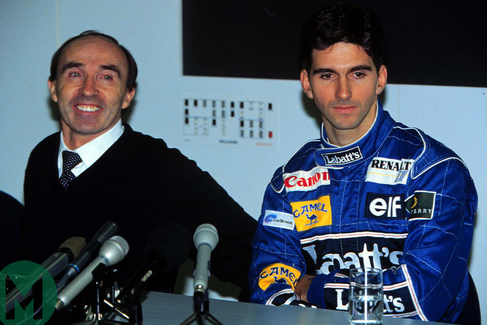 Frank Williams and Damon Hill at a press conference announcing the driver's arrival to Williams-Renault