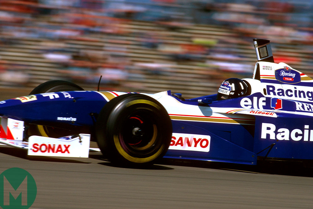 Damon Hill at speed in the 1996 Williams-Renault