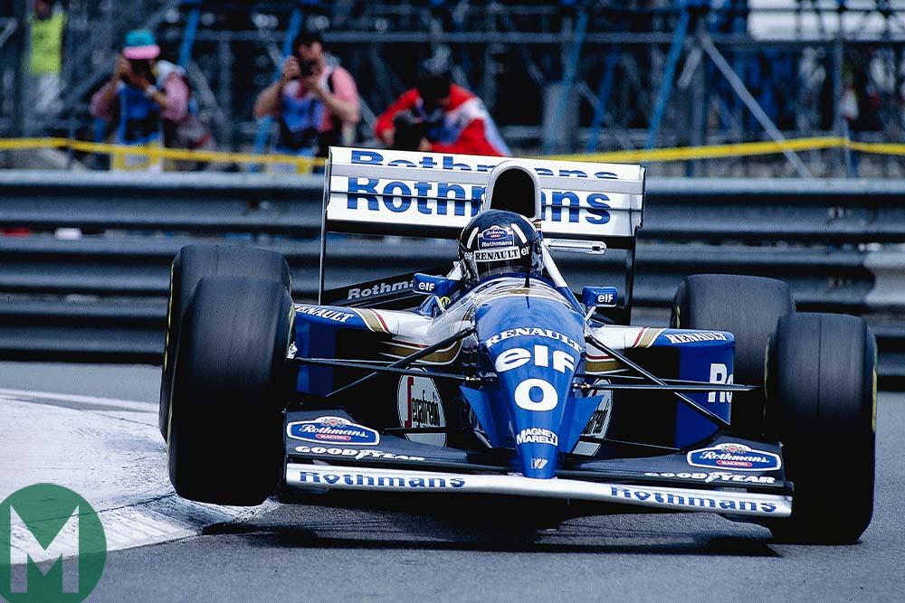 Damon Hill drives his Williams-Renault through chicane at 1994 Monaco GP
