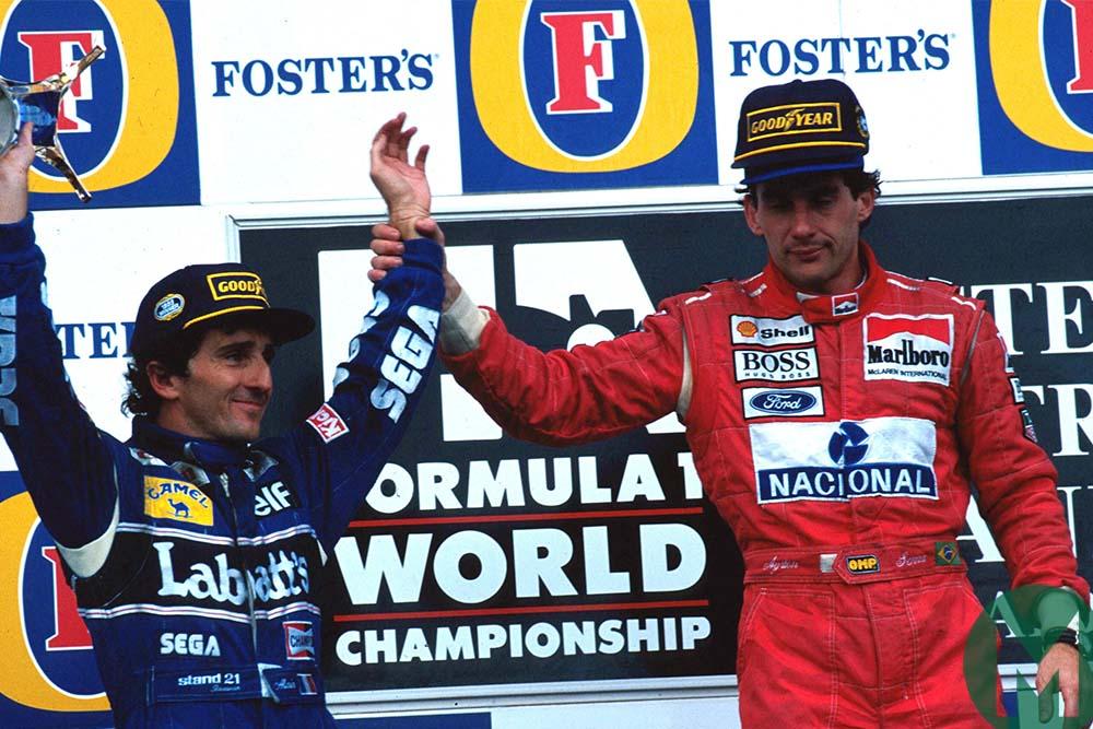 Ayrton Senna holds Alain Prost's arm aloft at 1993 Australian Grand Prix