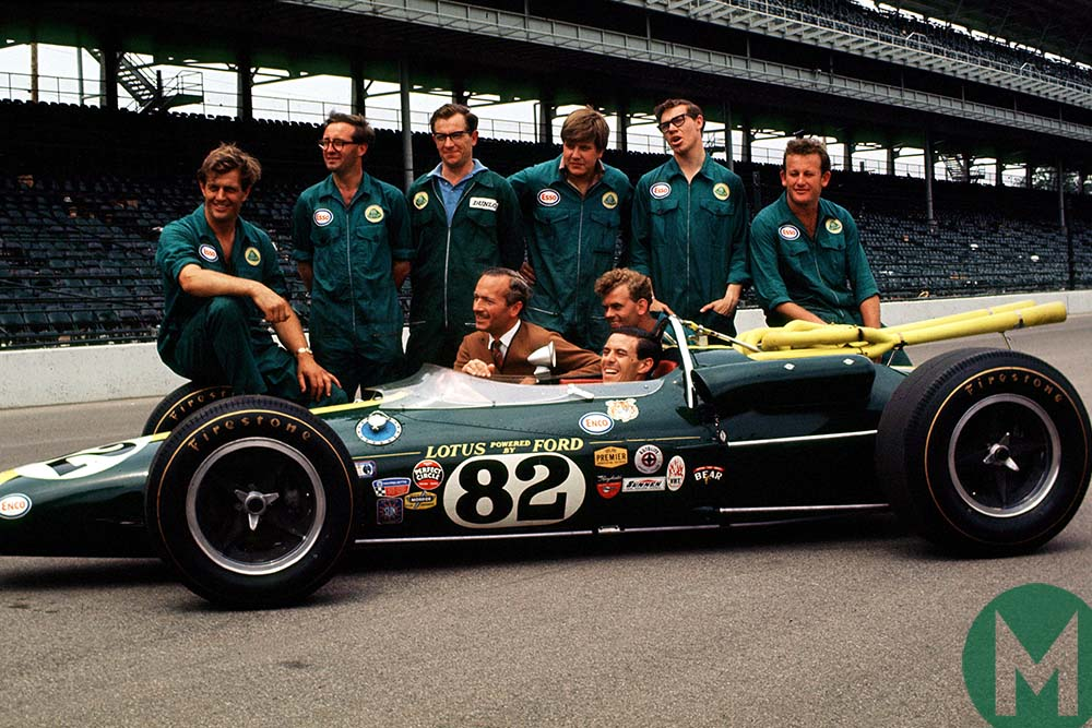 Jim Clark and team with his Lotus-Ford at 1965 Indianapolis 500