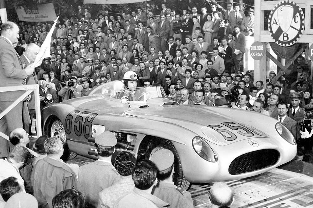 Juan Manuel Fangio starts the 1955 Mille Miglia Italy