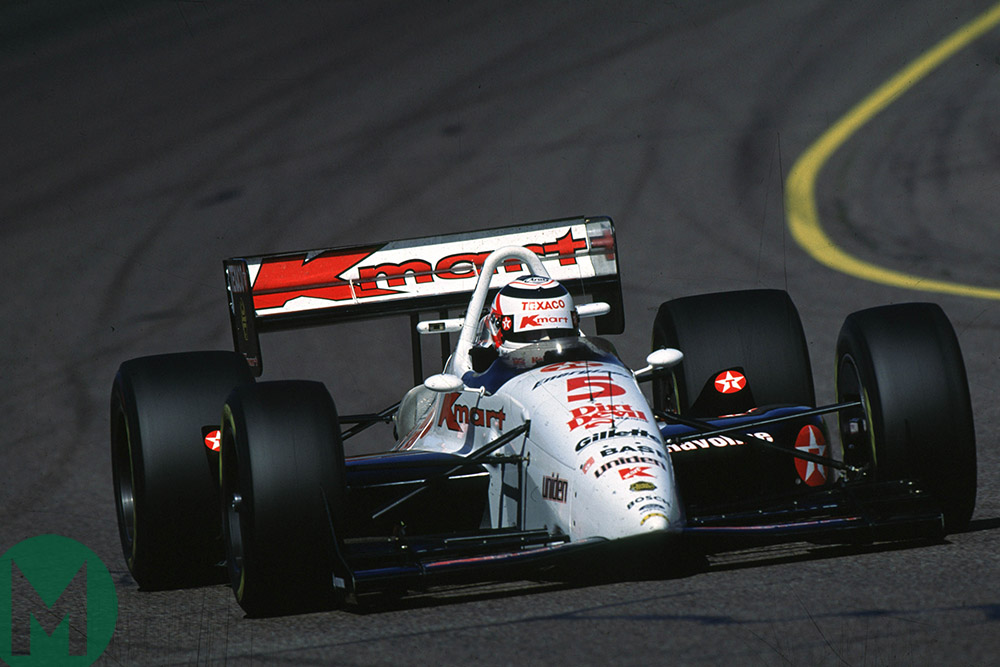 Nigel Mansell drives his Newman-Haas Indycar at Phoenix Raceway 1993