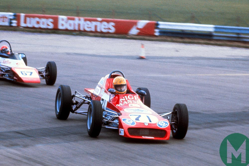 Nigel Mansell pushes at Silverstone 1977