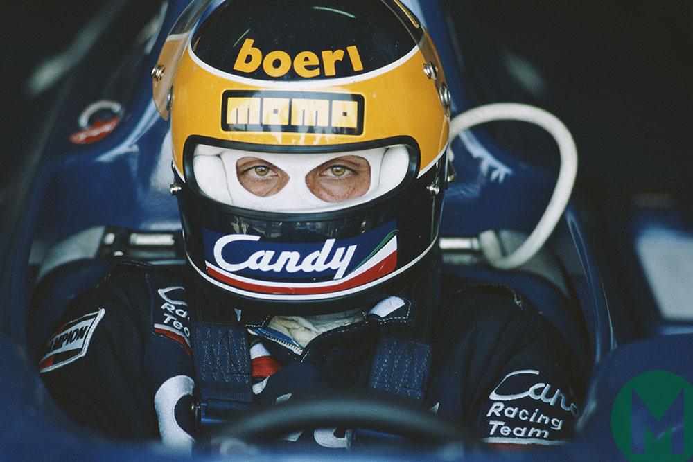 Michele Alboreto sits in his Tyrrell in 1981 Italian GP