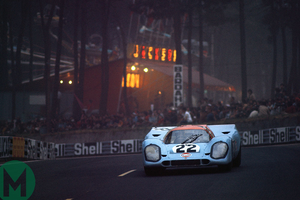Mike Hailwood in his Gulf Porsche 917 at Le Mans 1970 shared with David Hobbs