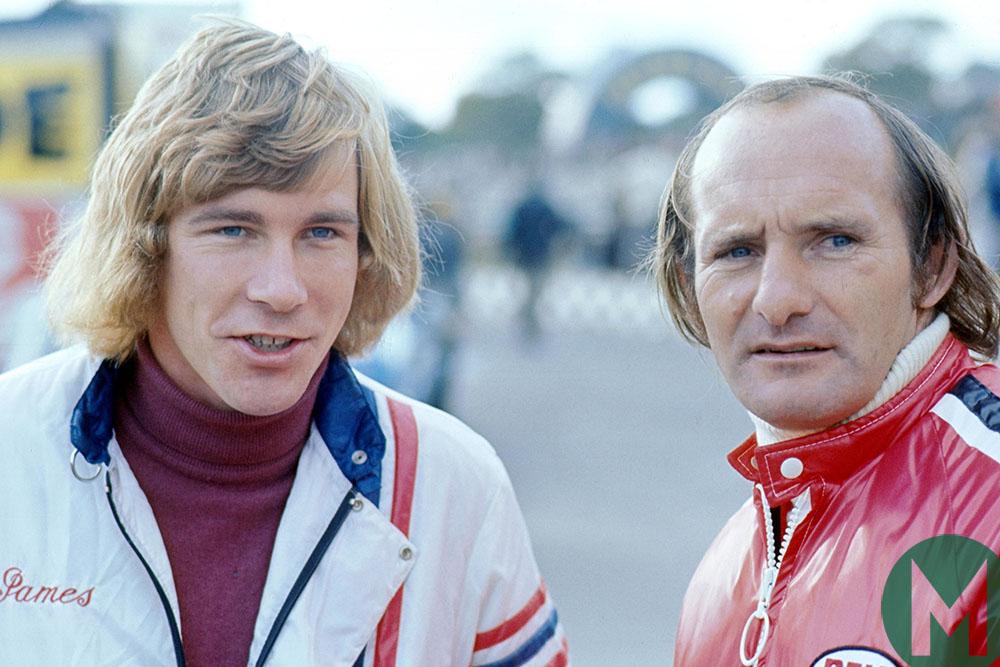 James Hunt and Mike Hailwood at 1974 British Grand Prix