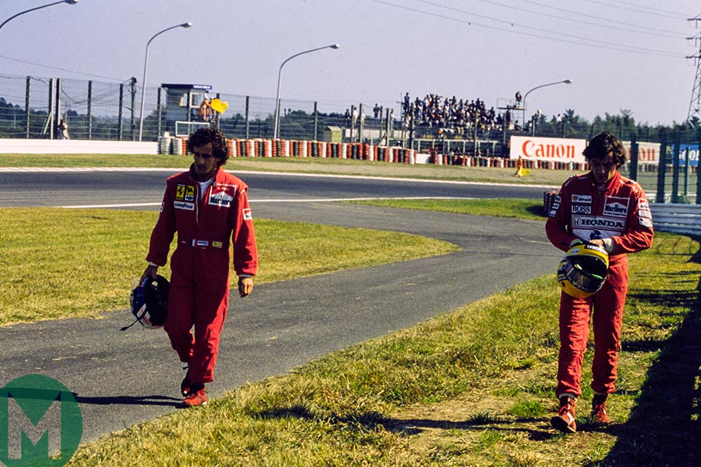 Alain Prost and Ayrton Senna walking back to the pits Japanese Grand Prix Suzuka 1990