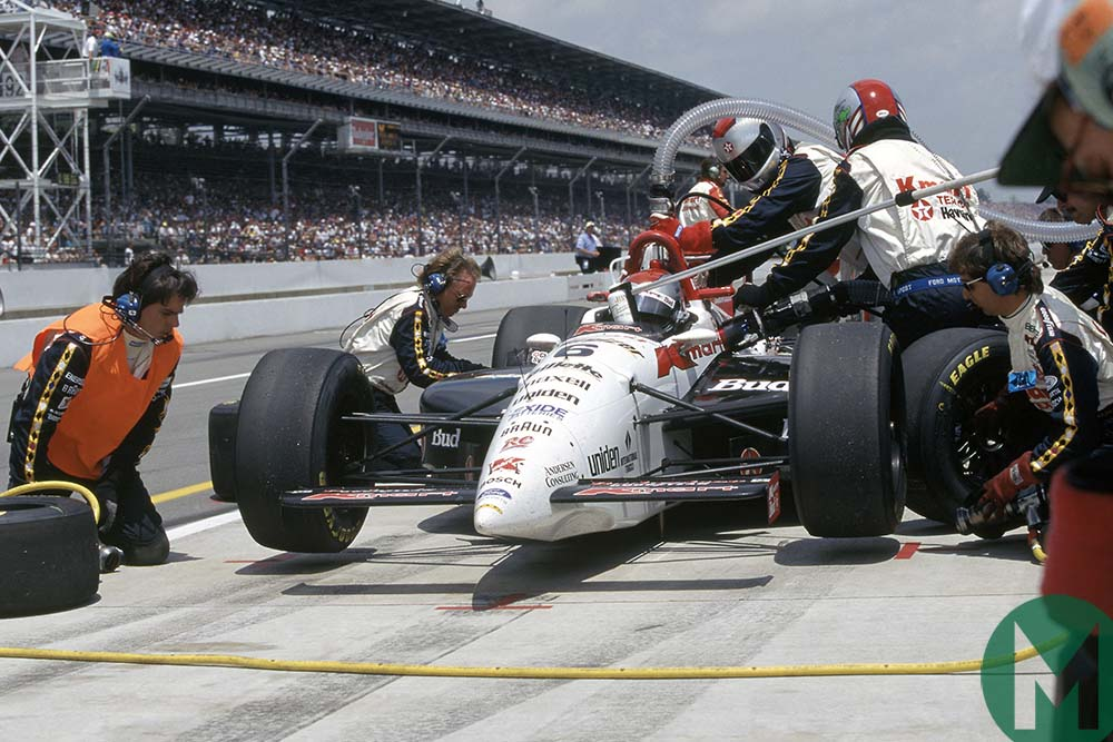 Mario Andretti pits his Newman-Haas during the 1994 Indianapolis 500