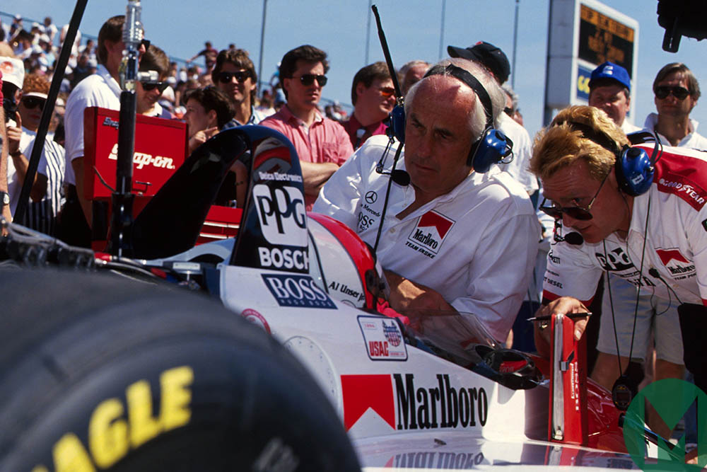 Roger Penske Al Unser Jr and team wait for the start of the 1994 Indianapolis 500