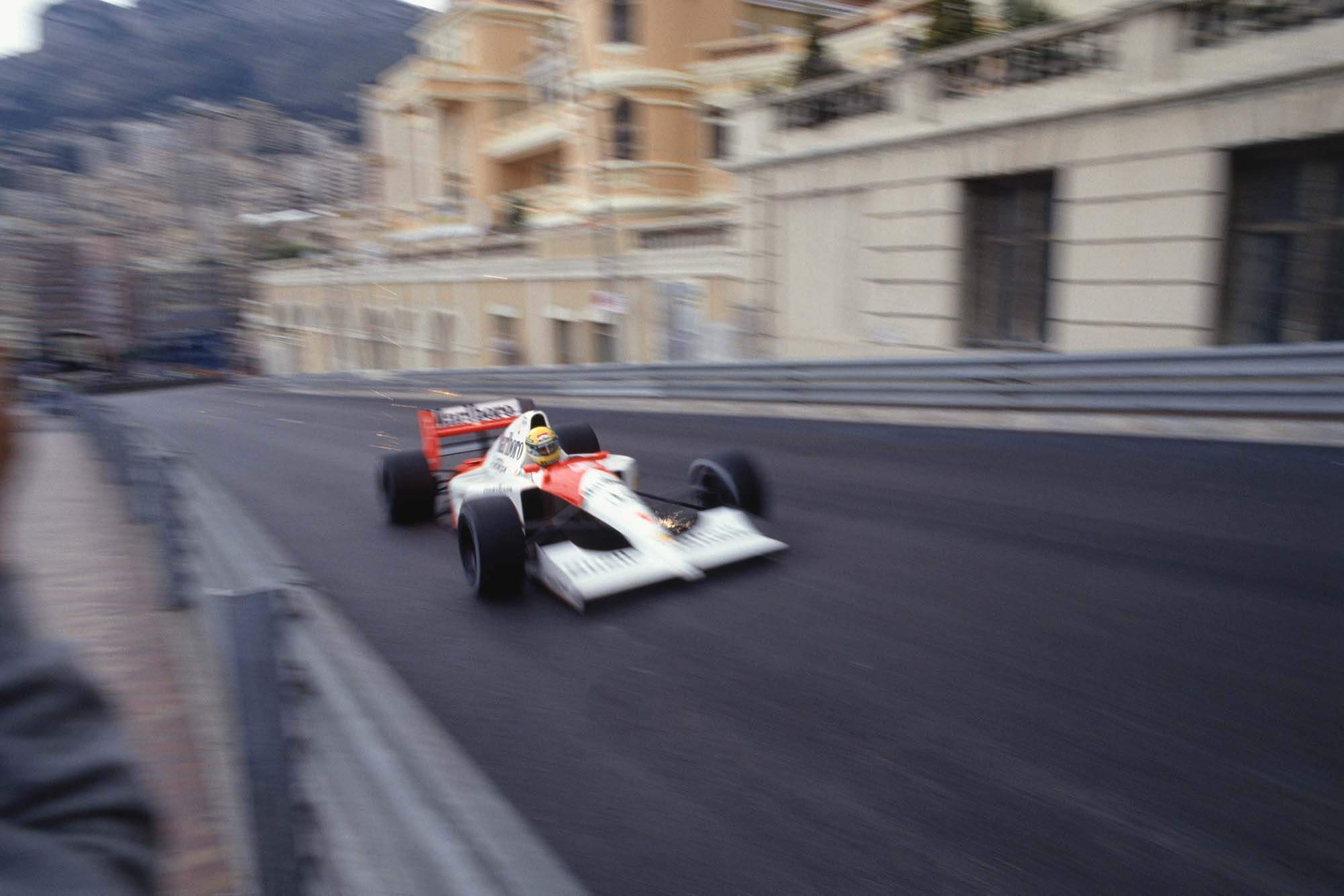 Ayrton Senna screams up from Beau Rivage into Massenet in his McLaren-Honda