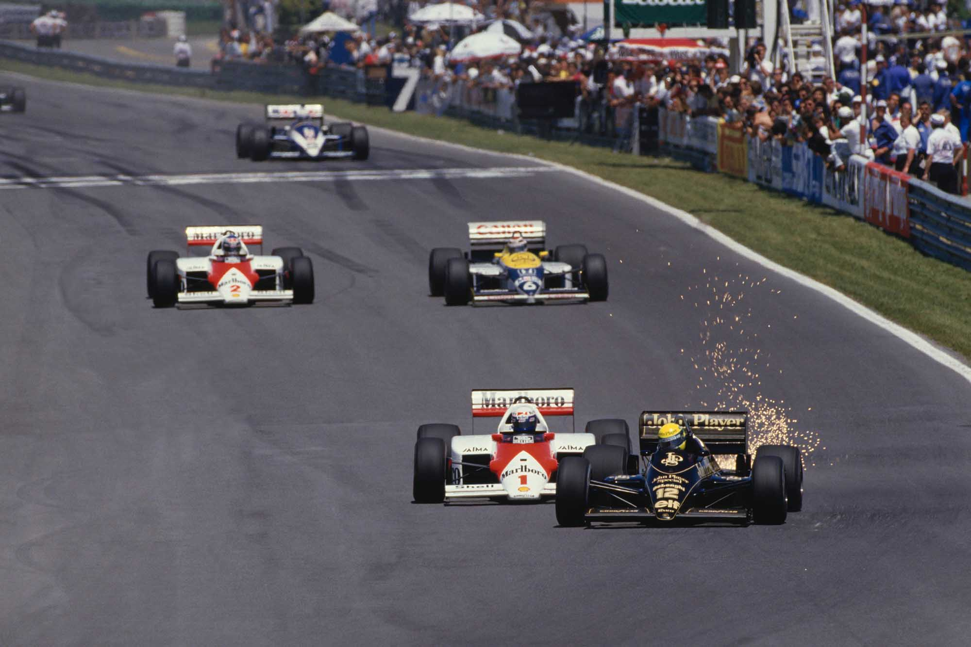 Ayrton Senna (Lotus-Renault) and Alain Prost (McLaren-Porsche) battle at 1985 Canadian Grand Prix Montreal