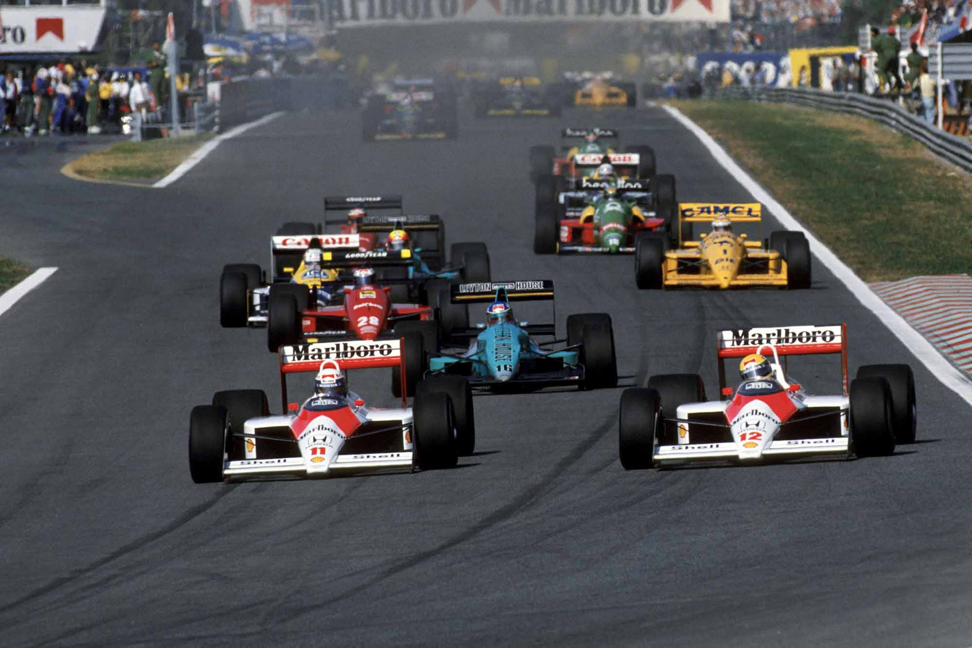 Ayrton Senna and Alain Prost in their McLaren-Hondas vie for position at 1988 Portuguese Grand Prix