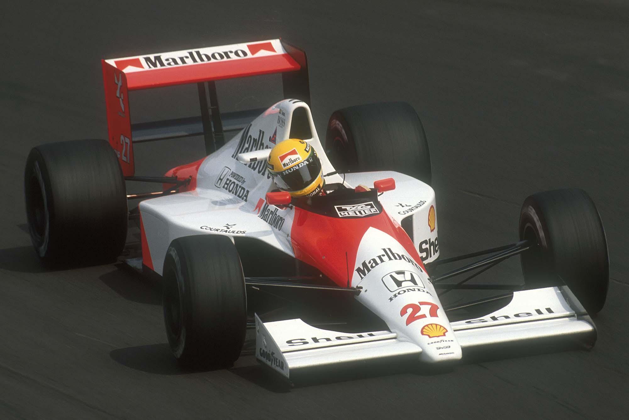 Ayrton Senna in his McLaren-Honda at the 1990 Italian Grand Prix Monza