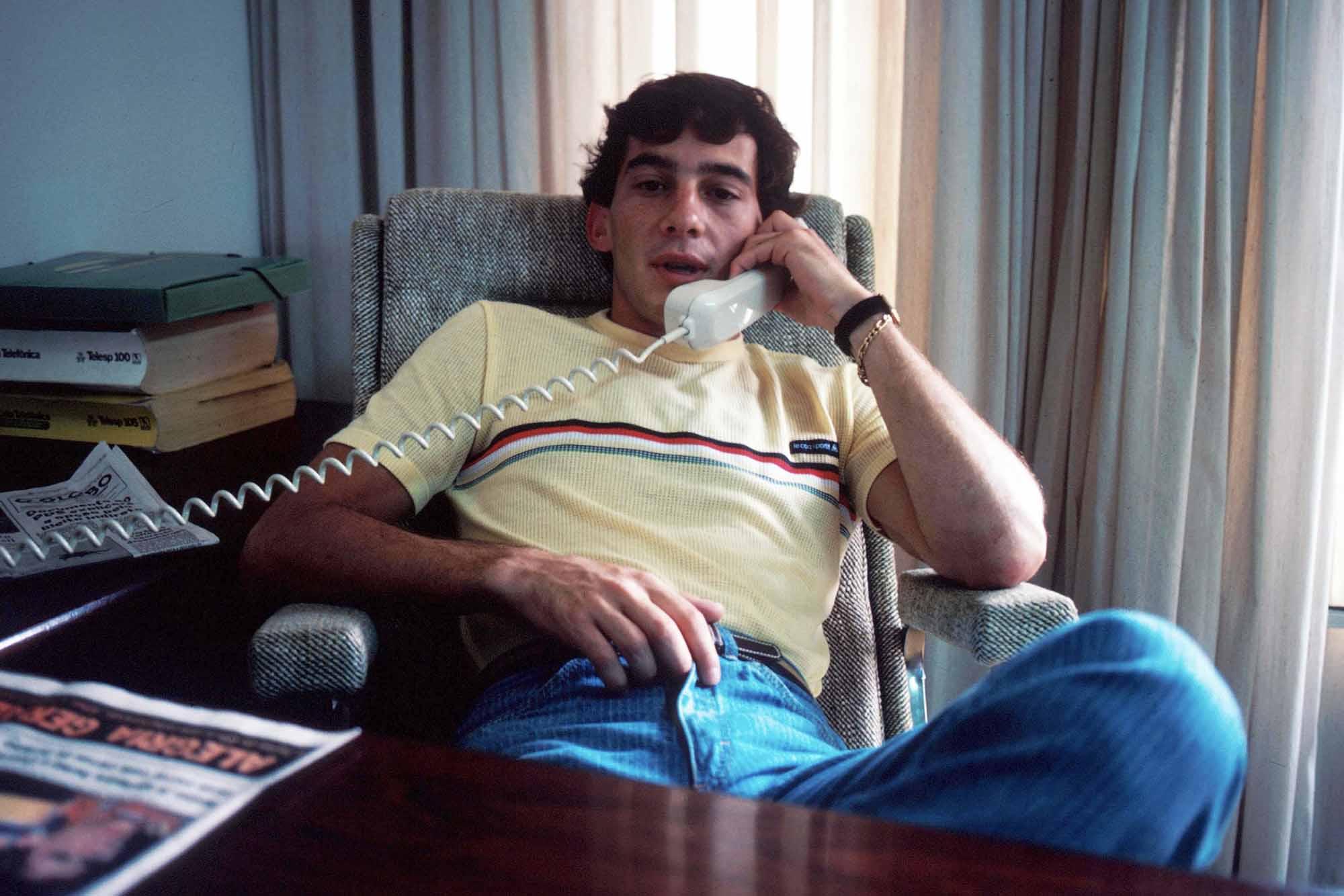 Ayrton Senna makes a business call at his family home Brazil 1984