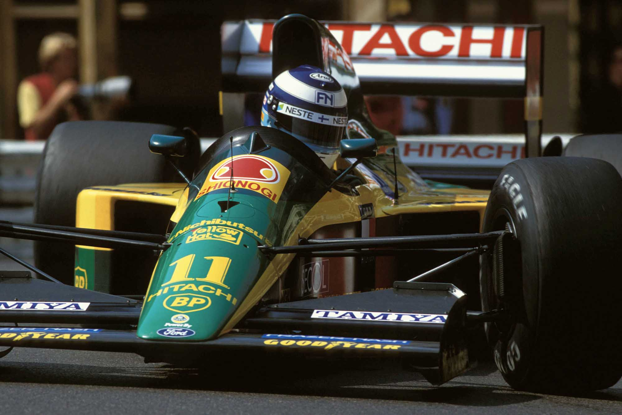 Mika Hakkinen in his Lotus at 1992 Monaco Grand Prix