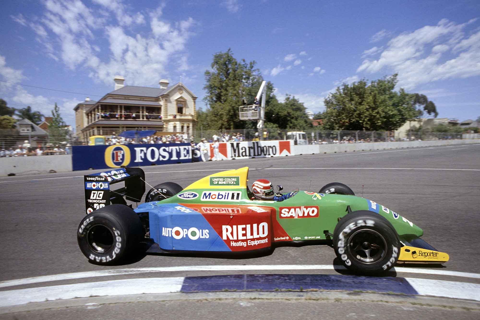 Nelson Piquet wins the 1990 Australian Grand Prix for Benetton-Ford