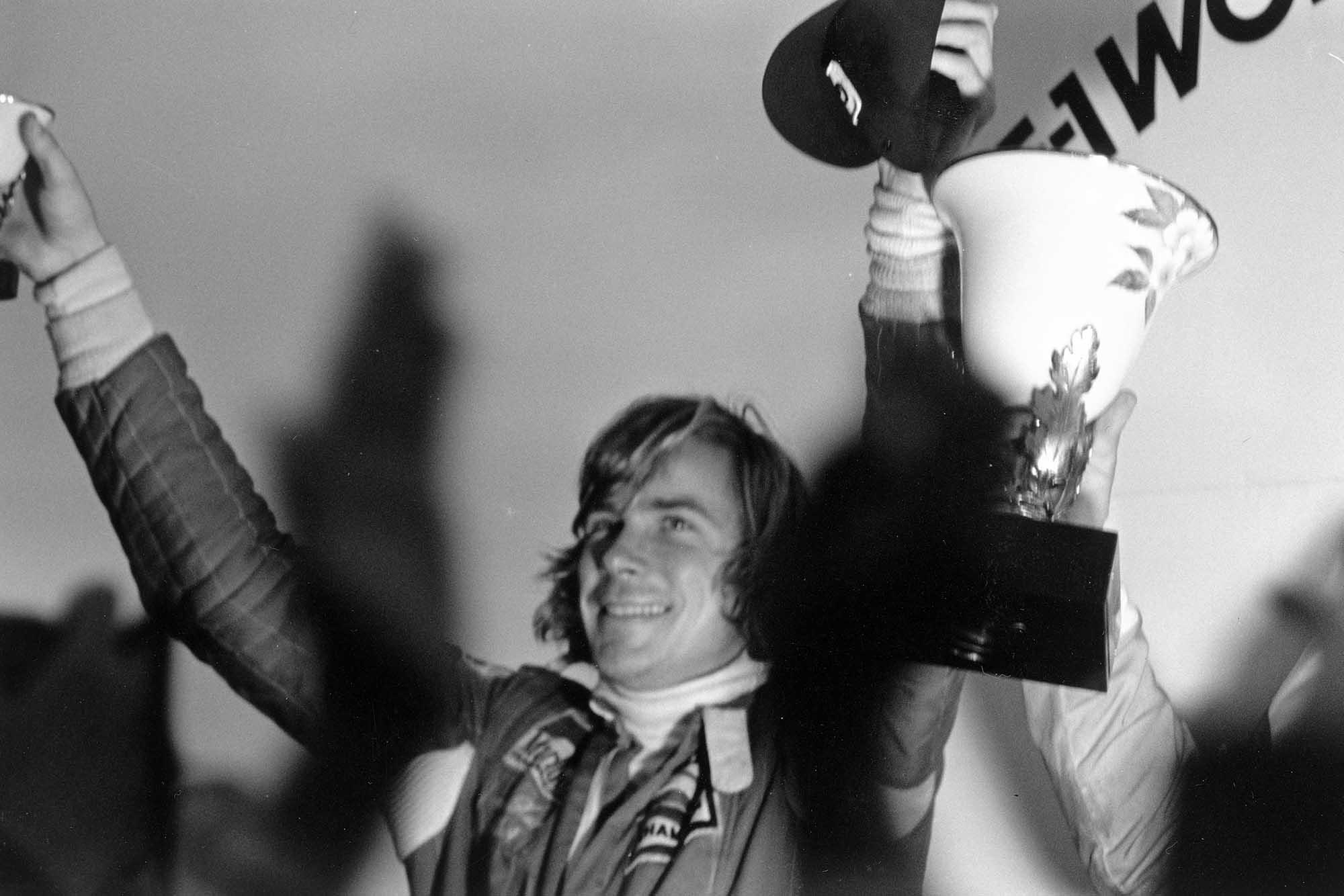 James Hunt celebrates winning the 1976 Formula One World Championship for McLaren
