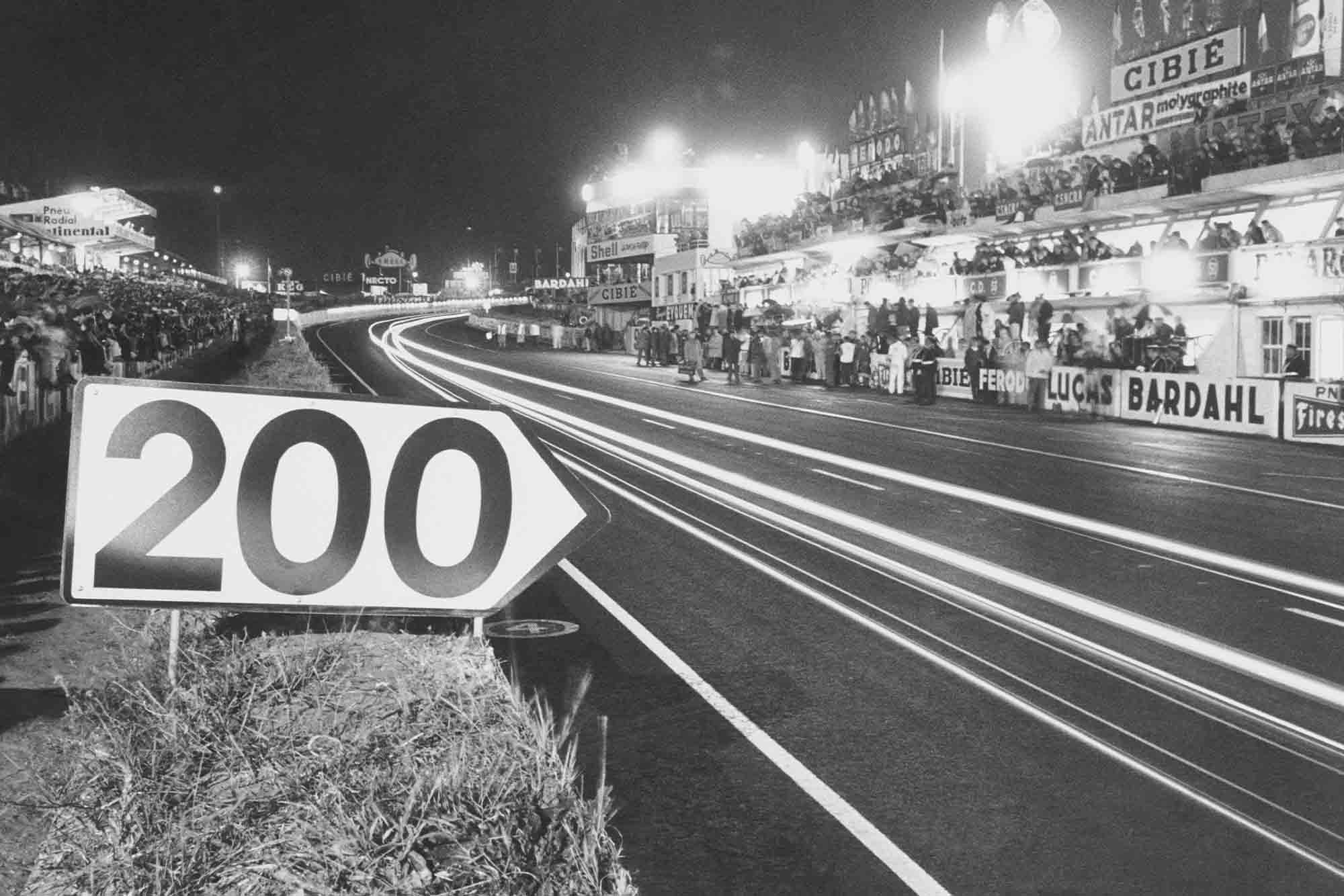 The 1966 Le Mans start/finish straight at night