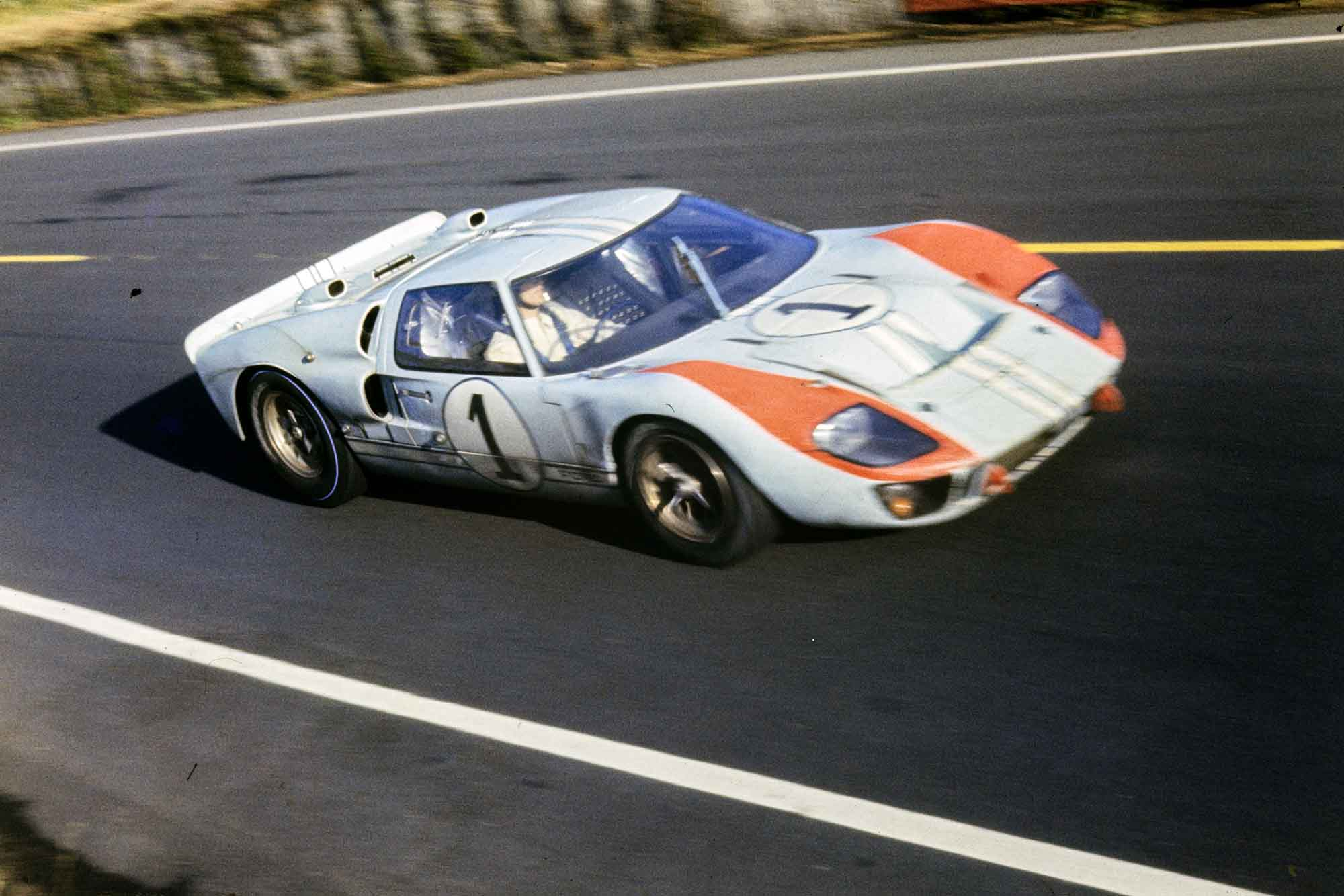 Ken Miles pushes on at 1966 Le Mans in his Ford GT40